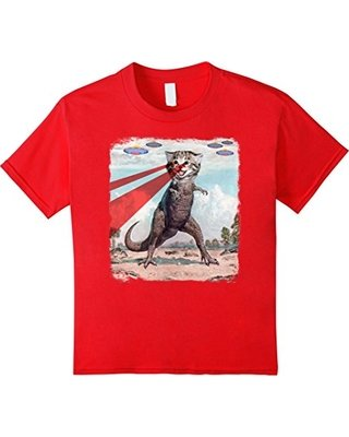 Kids T Rex Cat with Laser Eyes T Shirt
