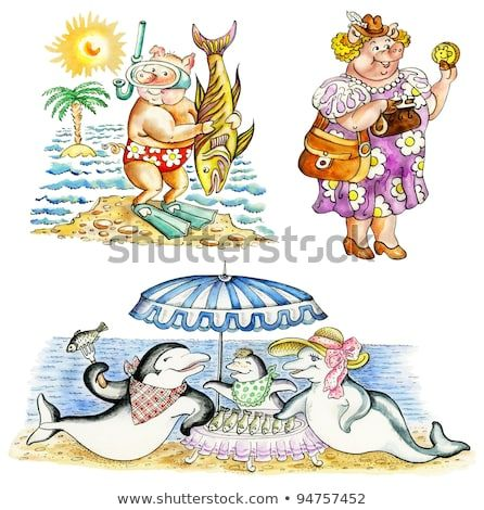 Funny cartoon animals on vacations pig scuba diver female pig shopping dolphin