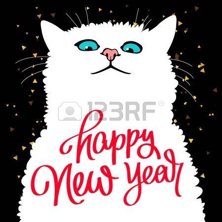 cat new year cards