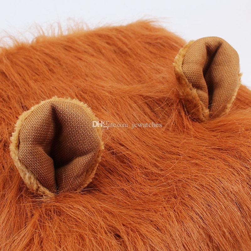 Adjustable Pet Dog Cat Costume Clothes Funny Lion Mane Wig Head Warm Hat