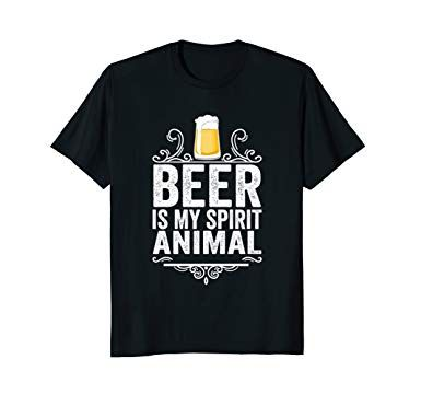 Mens Beer Is My Spirit Animal T Shirt Funny Drinking Gift Tee 2XL Black
