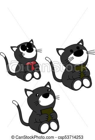cute baby cat cartoon set csp