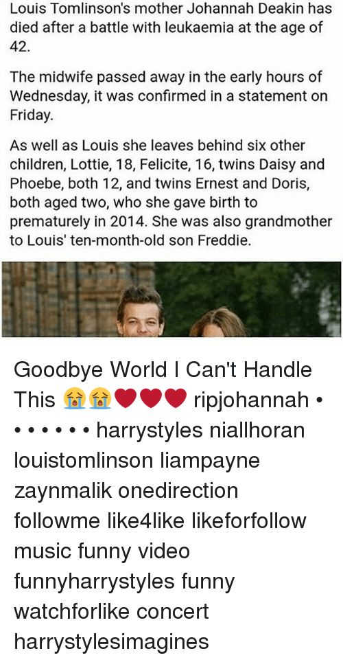 Memes Twins and Wednesday Louis Tomlinson s mother Johannah Deakin has d after a