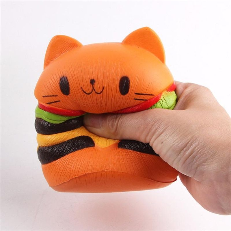 Squishy Cat Hamburger Food Squishys Cake Stress Reliever Slime Toys Scented Squeeze Slow Rising Fun Toy Relieve Stress Cure Gift