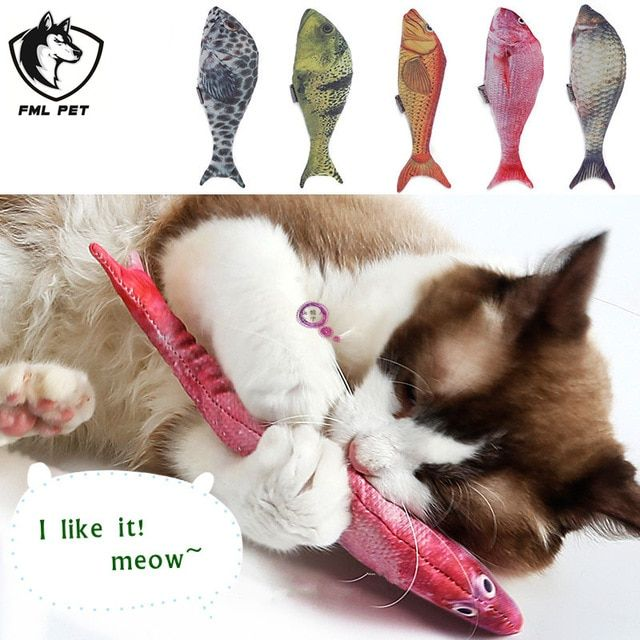 FML Pet Funny Cat Dog Fish Toy With Catnip Small Pocket Fake Pet Dogs Cats Animals