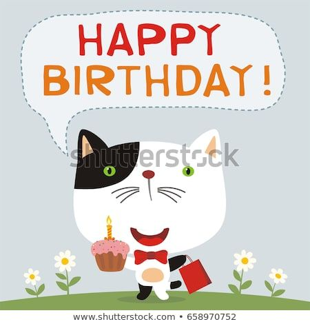 Happy birthday Funny kitten cat with cake and t Greeting card