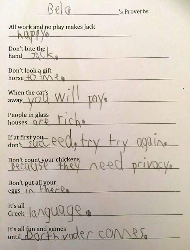 Bela s proverbs kids test