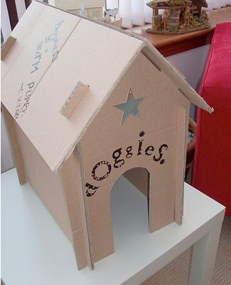 Toy Dog House tutorial made from cardboard box so cute for the little plush puppies