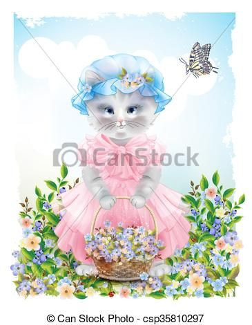 Portrait of the funny cat dressed in the pink frock with basket full of flowers Summer meadow Birthday card Holiday congratulation Greeting card