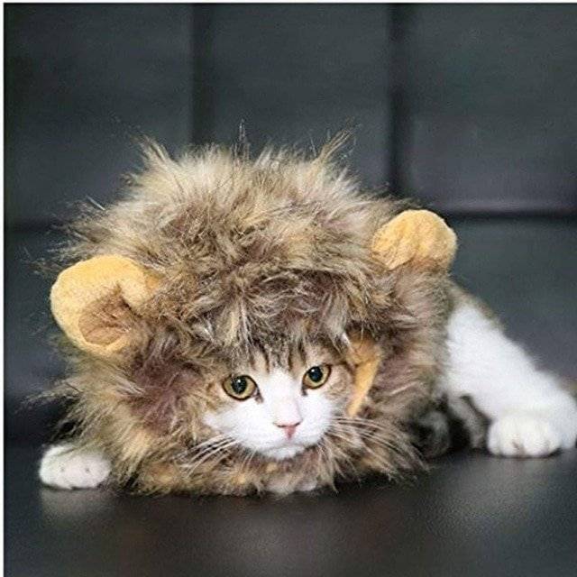Pet Costume Lion Mane Wig Cap With Ears Dog Cat Funny Halloween Chirstmas Party Cosplay Accessories