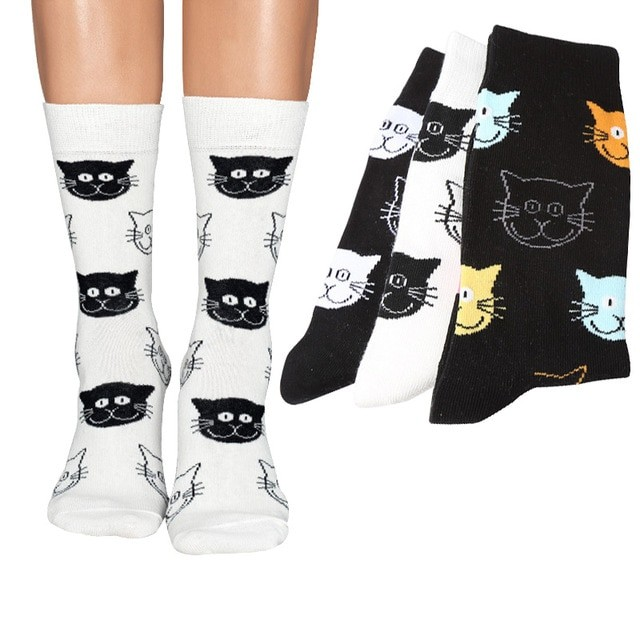 4 Pairs Women Happy Socks Funny Cat Face Individual Female Short socks Winter Spring Trendy Cute