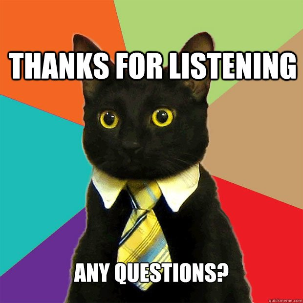 Thanks for Listening Any Questions Thanks for Listening Any Questions Business Cat