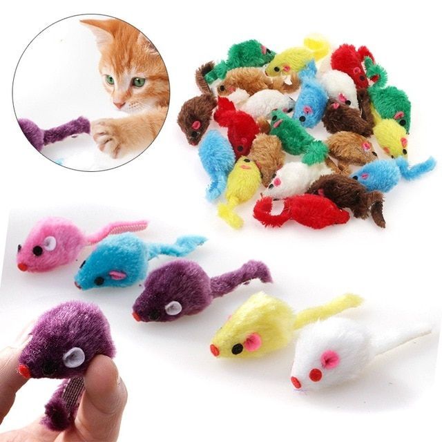 New 24PCS Pet Cat Mice Shape Toy Mayitr Furry Kitten Funny Playing Toys Mice Rattle Mouse