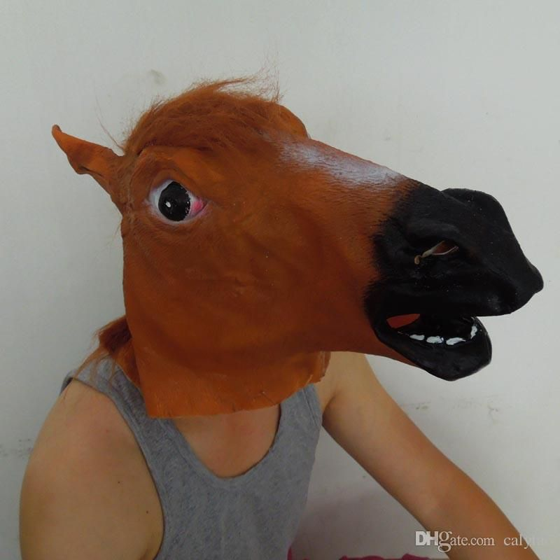 Creepy Brown Horse Mask Funny Latex Mask Carnival Animal Costume Halloween Costume Party Christmas Theater Prop Sale Masque Ball Masks Masque Mask From