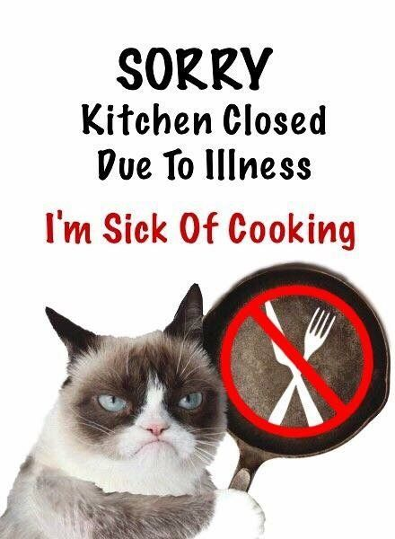 Kitchen Closed Due To I m Sick Cooking Grumpy Cat
