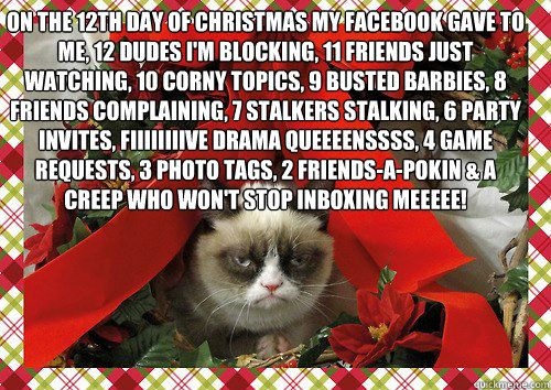 on the 12th day of christmas my gave to me 12 dudes i m blocking 11 friends just watching 10 corny topics 9 busted barbies