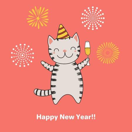 Hand drawn Happy New Year greeting card with cute funny cartoon cat with a glass of