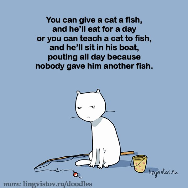 You can give a cat a fish and he ll eat for a day or