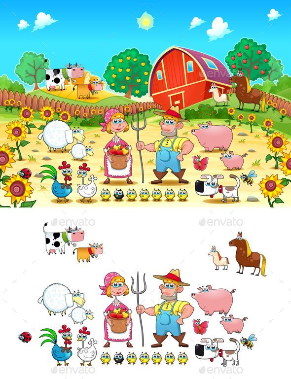 Funny Farm Scene with Animals and Farmers