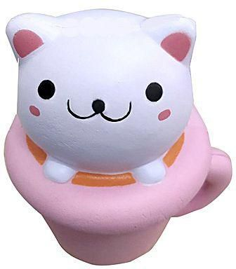 Generic Teacup Cat PU Foam Squishy Toy Funny Stress Reliever Decor Pink