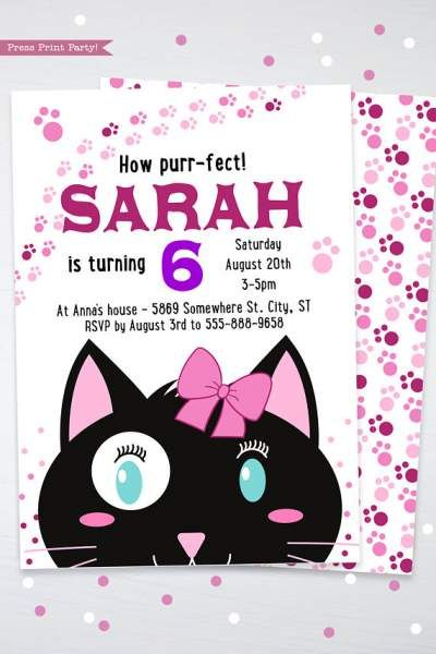 Cat Party Birthday Invitation Girl Black & White