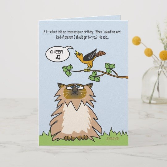 Funny Himalayan Cat Birthday Card