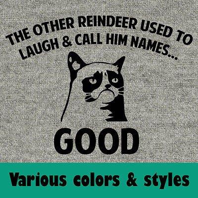 Rudolph the Rednosed Reindeer Funny Grumpy Cat Meme Santa Anti t shirt shirt