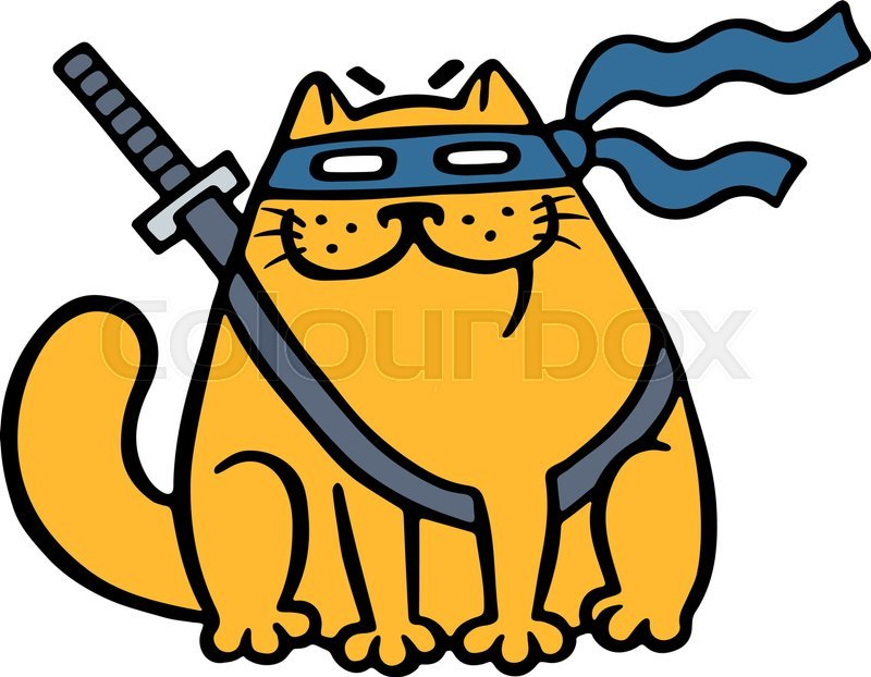 Cute fat ninja cat in a mask and a sword Funny cartoon cool character Contour freehand digital drawing White color background