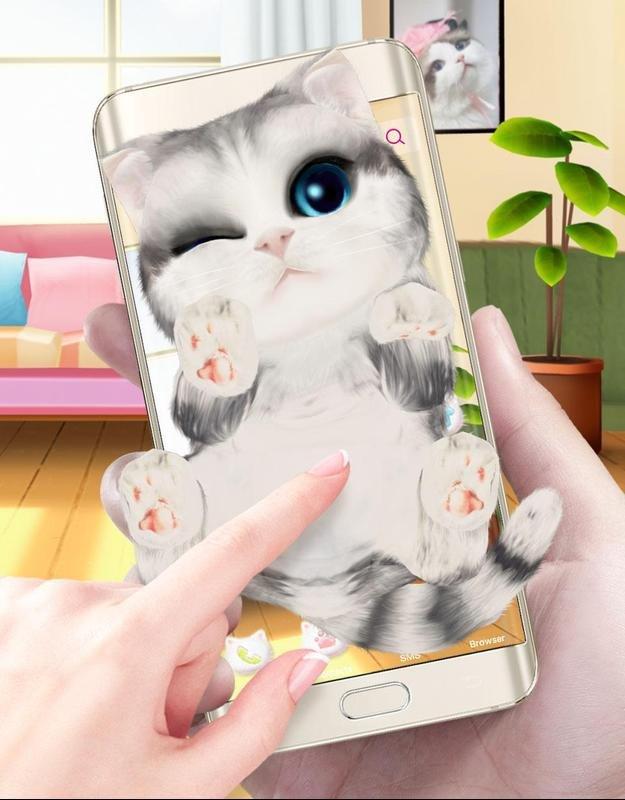 3D Cute Cat Theme 😠screenshot 1