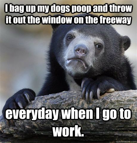 I bag up my dogs poop and throw it out the window on the freeway everyday when I go to work