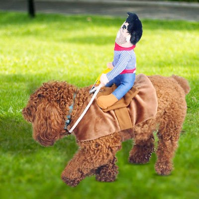 Funny Pets Fake Rider Cowboy Cotton Costumes Interactive Riding Tops For Dog Cat