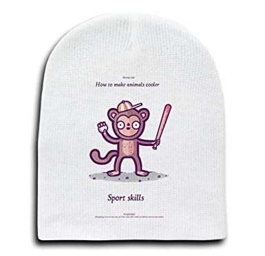 Amazon How To Make Animals Cooler Monkey Sports Skills Funny Randy Otter White Beanie Cap Hat Clothing