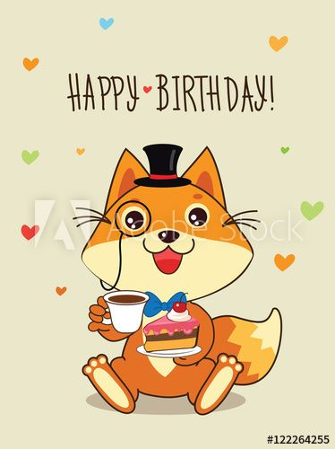 Happy Birthday Card Funny Fox With In A Bowler Hat And Cake In His Hands Vector Cartoon Animals Illustration Funny Cat Memes Funny Cat Jokes