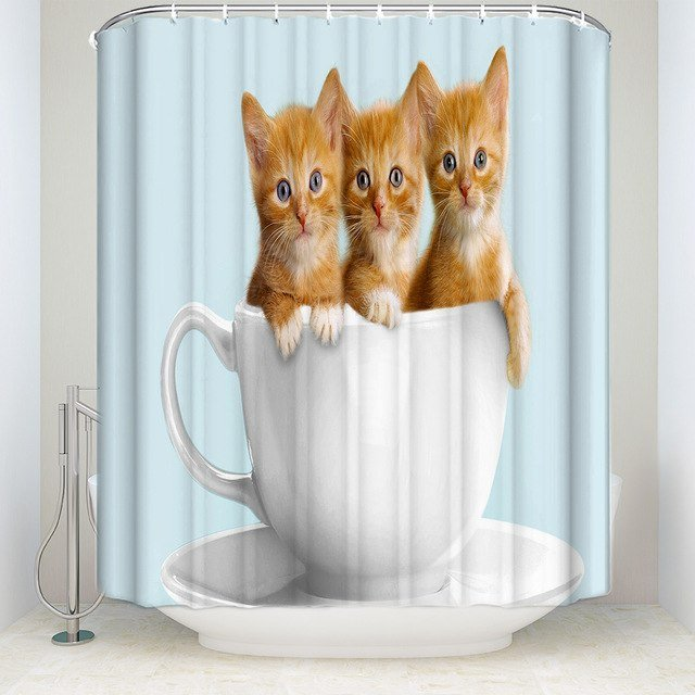 Memory Home Three Funny Cat Cup Shower Curtain Bathroom Waterproof Polyester Fabric Animal Pattern Bath Accessory