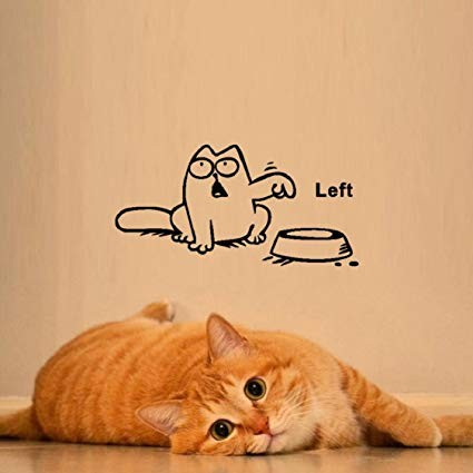 Wall Sticker Ikevan Newest DIY Funny Cat Need Food Home Decoration Wall Sticker Left