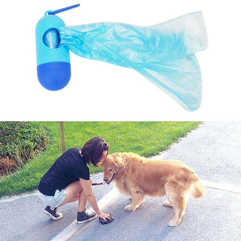 1 Set 15pcs disposable Garbage Bag Walking Pet Dog Shit Collect Bags Portable capsule Doggy Poop