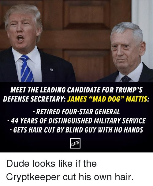 Memes Candide and Generalization MEET THE LEADING CANDIDATE FOR TRUMP S DEFENSESECRETARY JAMES ""