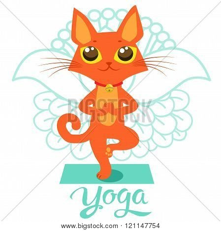 Cartoon Funny Cat Icons Doing Yoga Position Yoga Cat Pose Yoga Cat Vector