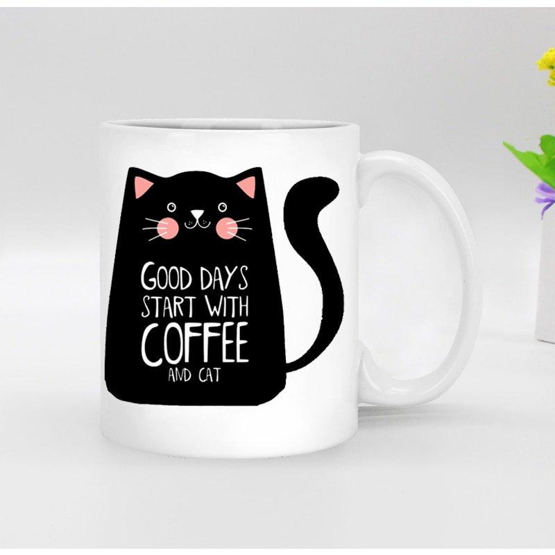 Free shipping Funny novelty black cat Ceramic white coffee Mug tea cup mugs custom Birthday Christmas