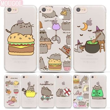 MOUGOL Hot Sale cute funny lovely Pusheen Cat hard Transparent c