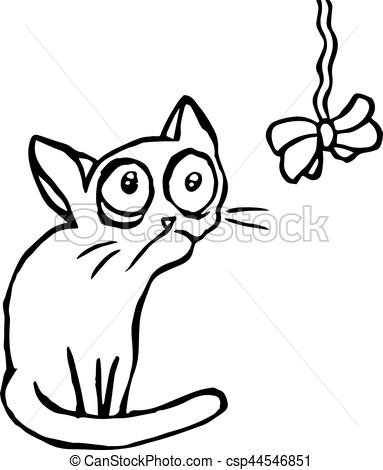 Funny Strange Cartoon Cat Sitting And Looking Vector Illustration