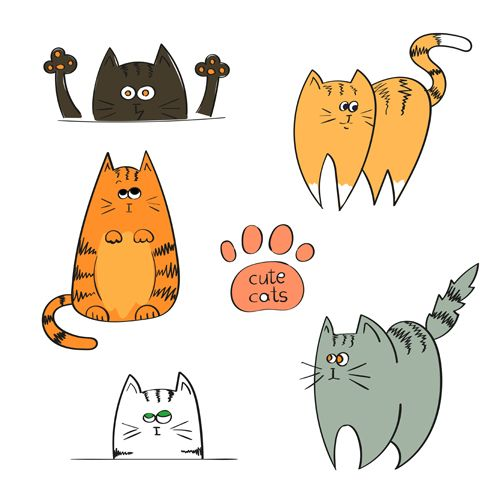 Funny doodle cats vector material 04