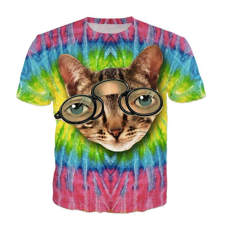 HipHop Mens Womens Tie Dye Glasses Cats Tshirt Men Women Funny Summer Kitten 3d T shirt Hip Hop Mens Animal Clothes Dropshipping in T Shirts from Men s