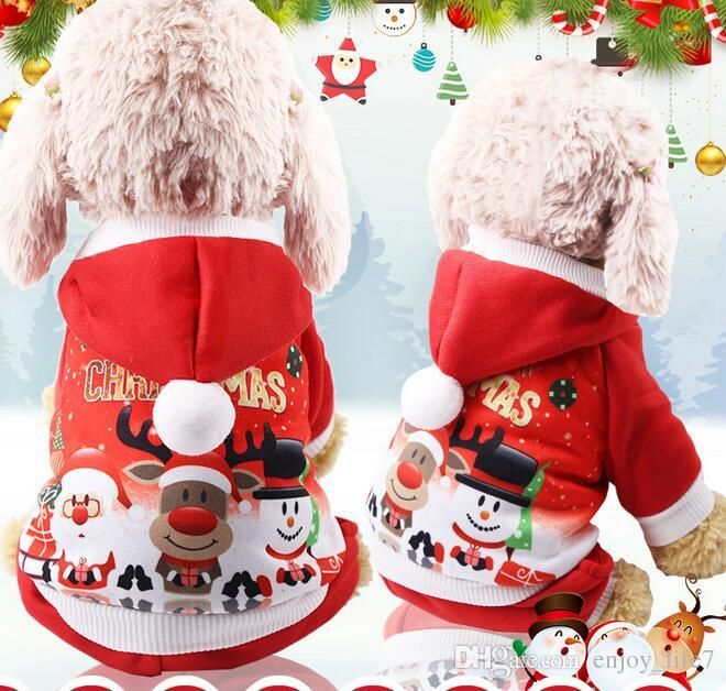2019 Christmas Dog Christmas Pet Clothes Cat Clothes Funny Autumn Winter Buttons Small Medium Dog Cap Clothes Size S XXL From Enjoy life7 $3 12
