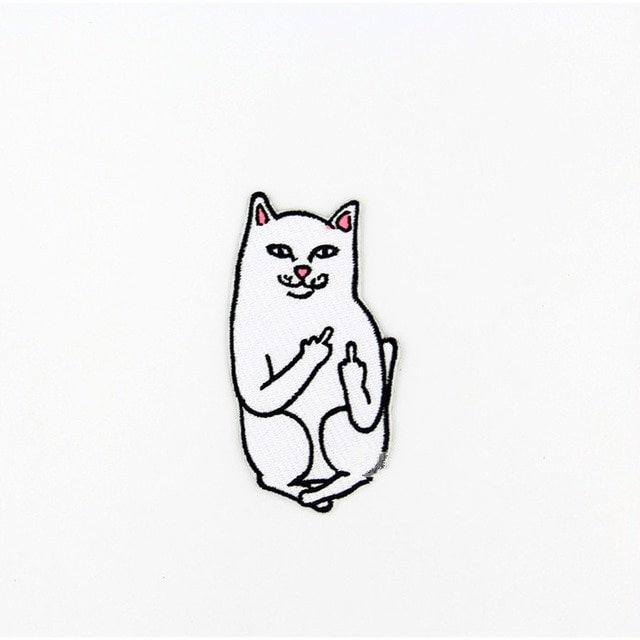 Cat With Middle Finger Humorous Funny Saying Words Go Away Patch Creative Apparel Sewing Fabric Hat