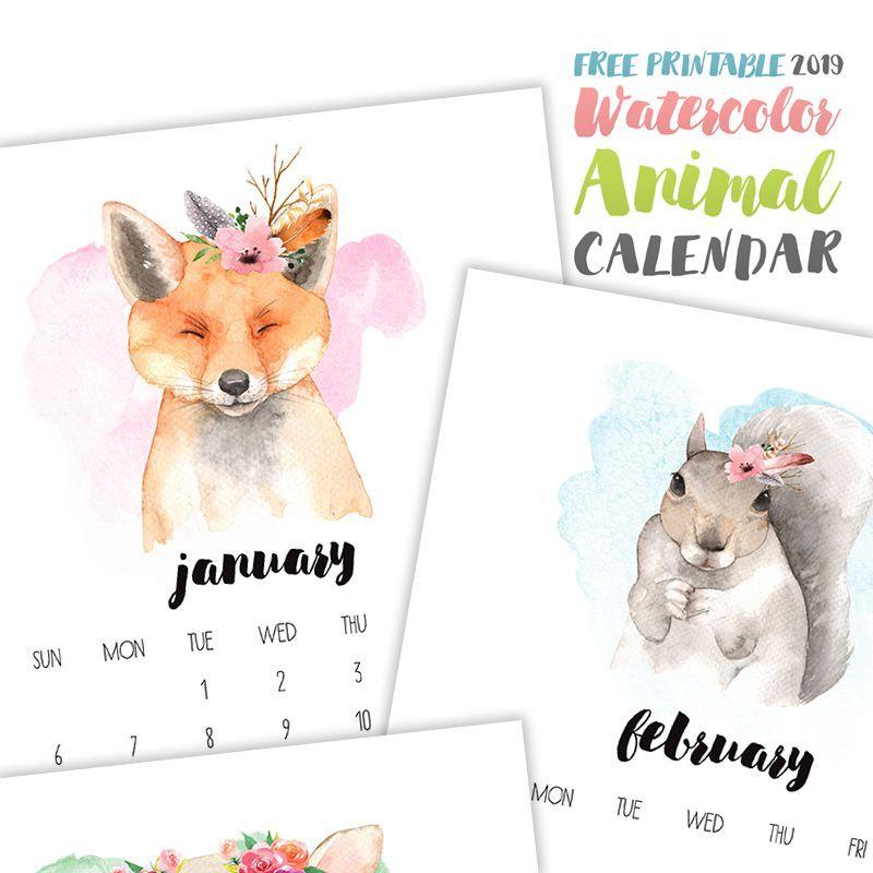 Watercolor Animal 2019 Printable Calendar