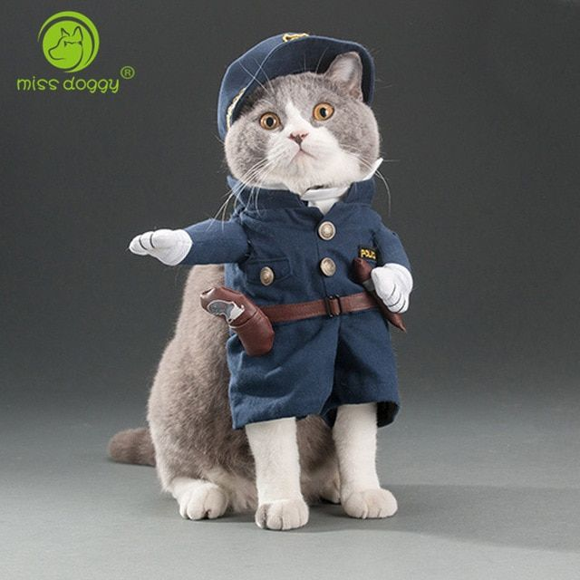 Funny Cat Outfits Pet Costumes Cats Suit Spring and Summer Puppy Dog Clothes Police Fashion Best