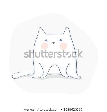 Cute funny Cat or Kitten Lazy cat is sitting and thinking about life Flat