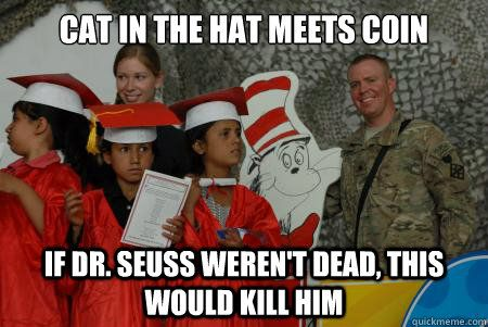 cat in the hat meets coin if dr seuss weren t dead this would kill him