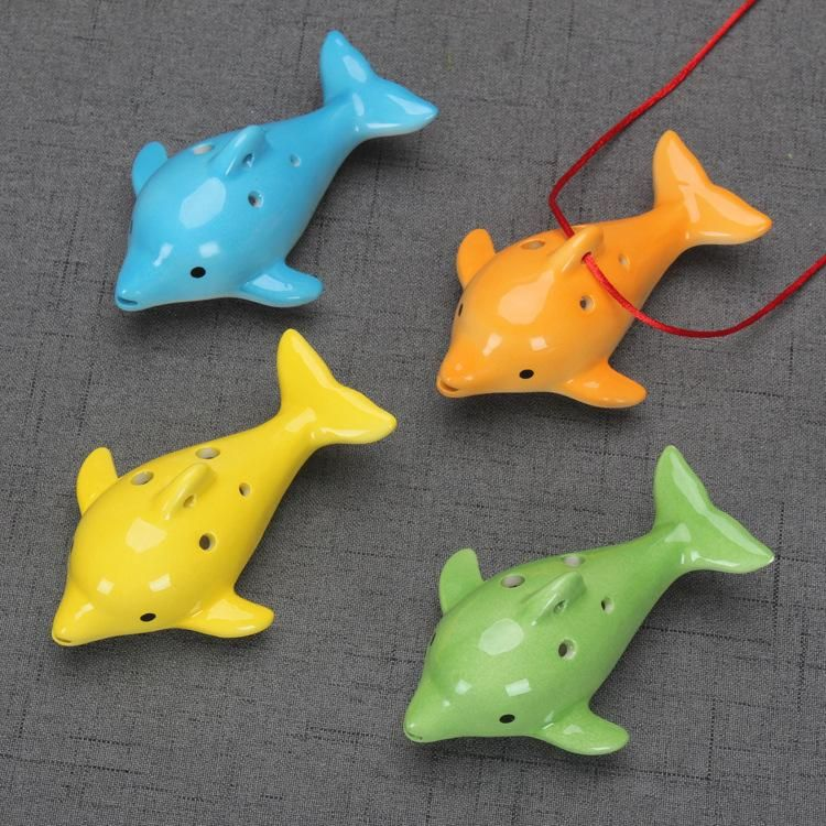 4styles Dolphin Ocarina Educational Toy 6 Hole Ceramic Musical Instrument Animal Shape Educational Music Flute Charm Kids Gift Toy FFA1295 Funny Gift Items